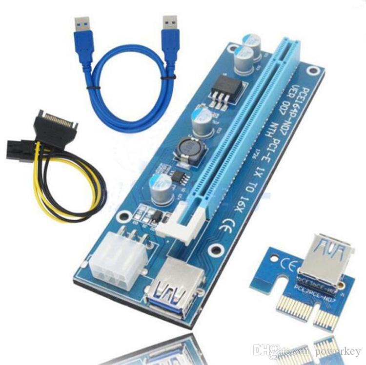 Fro 009s PCIe PCI-E PCI Express Riser Card 1x to 16x USB 3.0 Data Cable SATA to 4Pin IDE Molex Power Supply for BTC Miner Machine