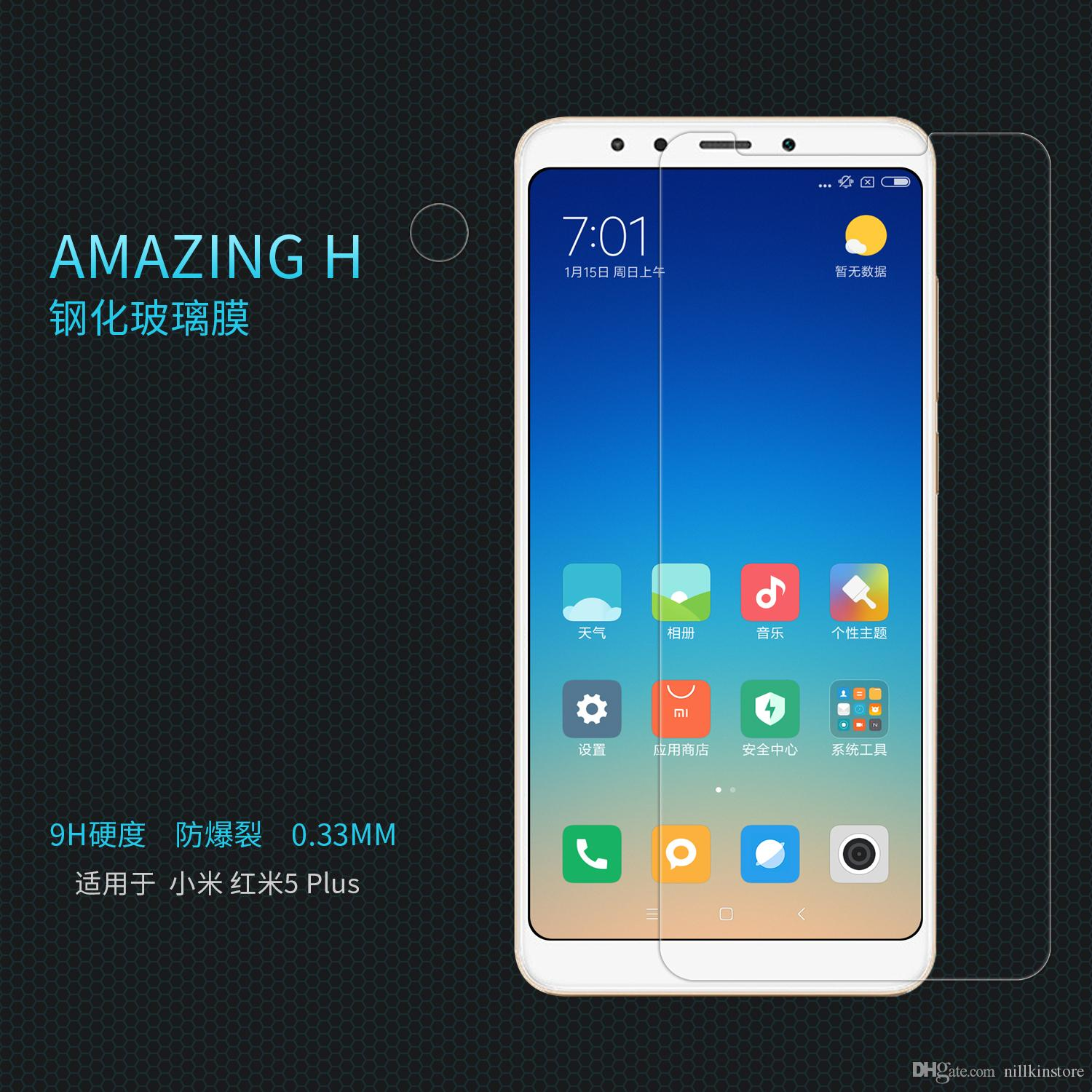 Wholesale Nillkin For Xiaomi Redmi 5 Plus Amazing H Tempered Glass My User Oppo F1 Clear Screen Protector Film Nano Coated Protective