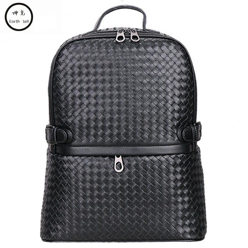 a78606e10c Vintage Hand Weaving Genuine Leather Backpacks Men Women School ...