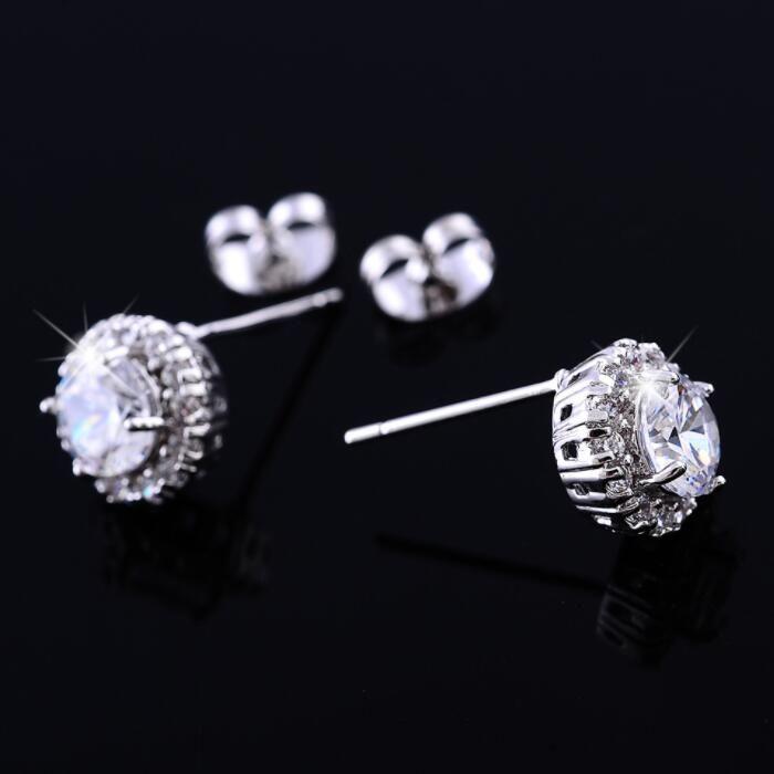 Jewels By Lux Sterling Silver 10mm Golden Champagne Czech Crystal Post Earrings