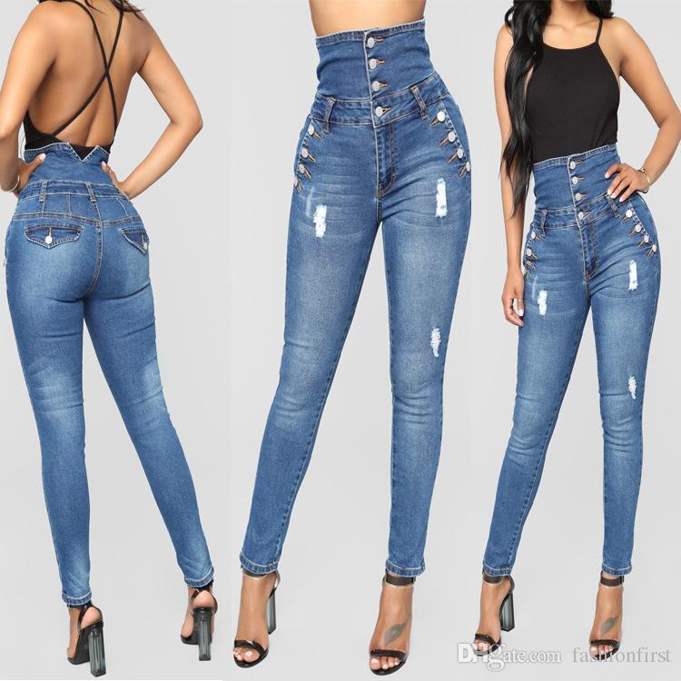 47c209fcb أزياء جينز عالية مخصر جينز خمر تصميم جينز نحيل رخيصة الثمن عالية ...