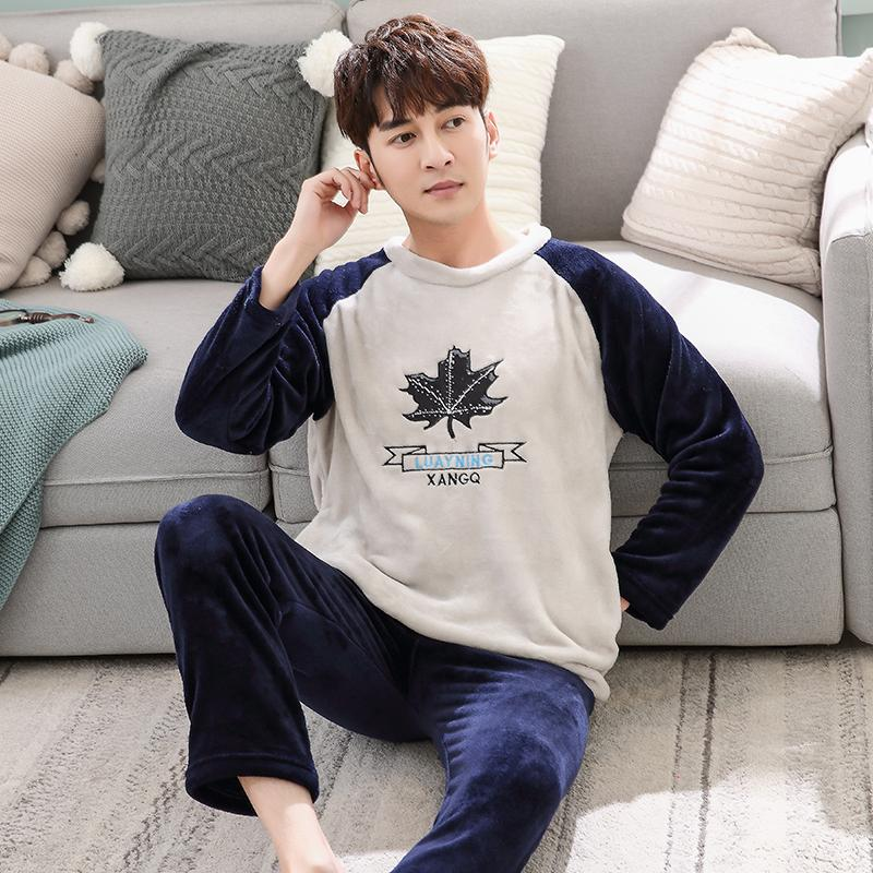 51149482c0 2019 Men S Pajamas Set Autumn Winter Coral Fleece Cartoon Thicken Flannel  Warm Pajamas Men S Long Sleeve Nightwear Top Pant Flannel From Victoriata