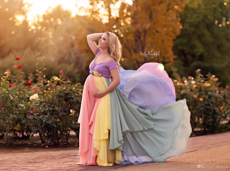 2018 Rainbow Wedding Dresses Tulle Off Shoulder Custom Made Pregnant Wedding Gowns Mult-Color Maternity Dress Plus Size Bridal Dress