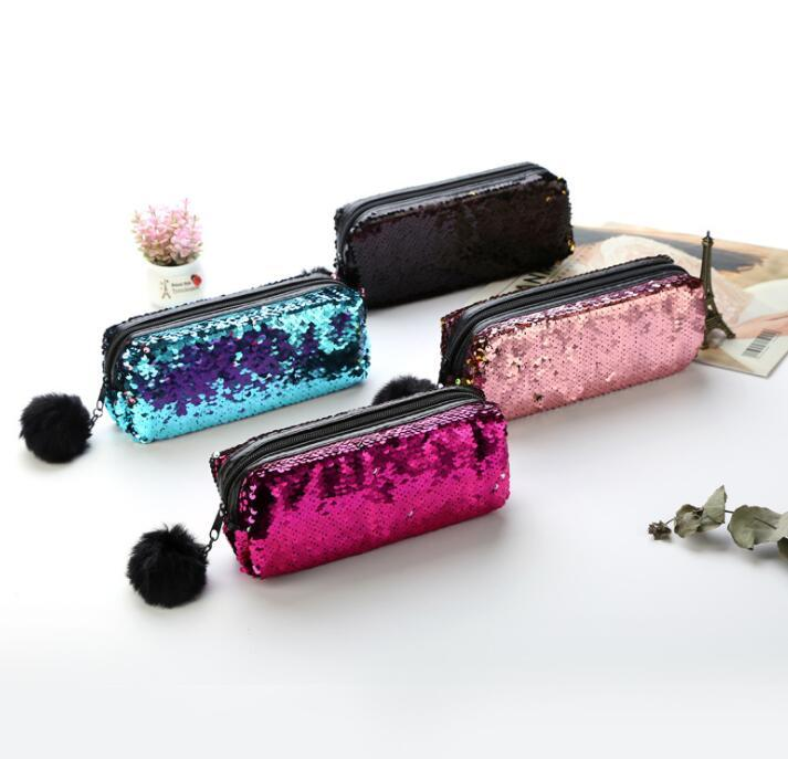 Sequin Pencil Pen Makeup Storage Bags Fashion Cute Mermaid Sequin Fur Ball Cosmetic Bags Cases Purse bag KKA6117