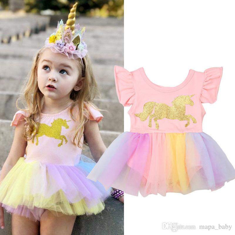 f35fc0c14993 2019 Baby Girls Unicorn Printed Romper Cartoon Rainbow Horse Dress Children  Lace TuTu Fly Sleeve Jumpsuits 2018 New Kids Clothing From Mapa_baby, ...