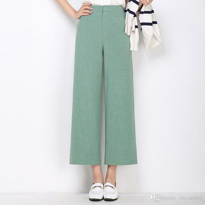 Taille haute plus la taille blanc noir rouge orange vert nouvelle mode casual large jambe pantalons femmes printemps automne pantalon féminin ysy0802