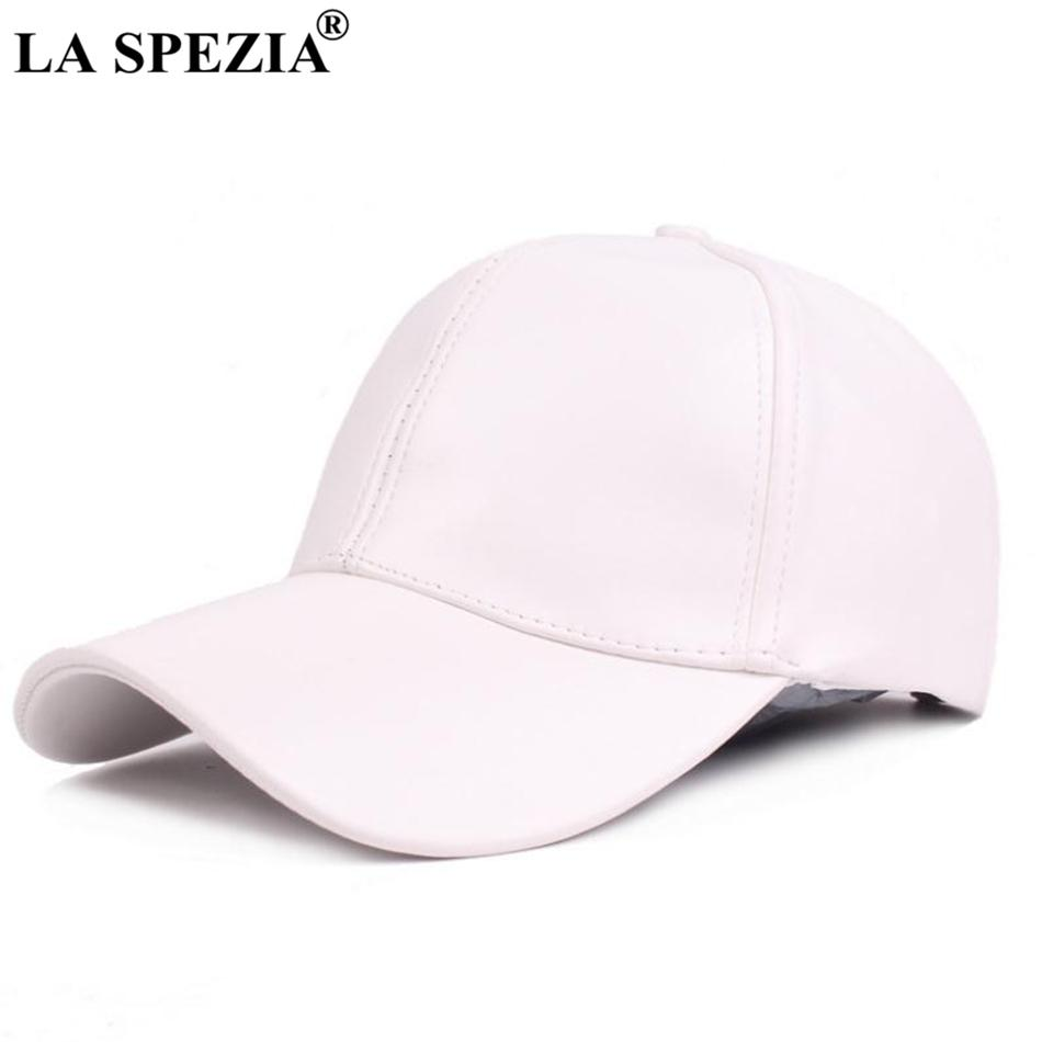 LA SPEZIA Baseball Cap White Women Casual Faux Leather Peaked Caps Men  Adjustable Solid Unisex Autumn Baseball Hat Fashion 2018 Zephyr Hats Kids  Hats From ... d5bd12337