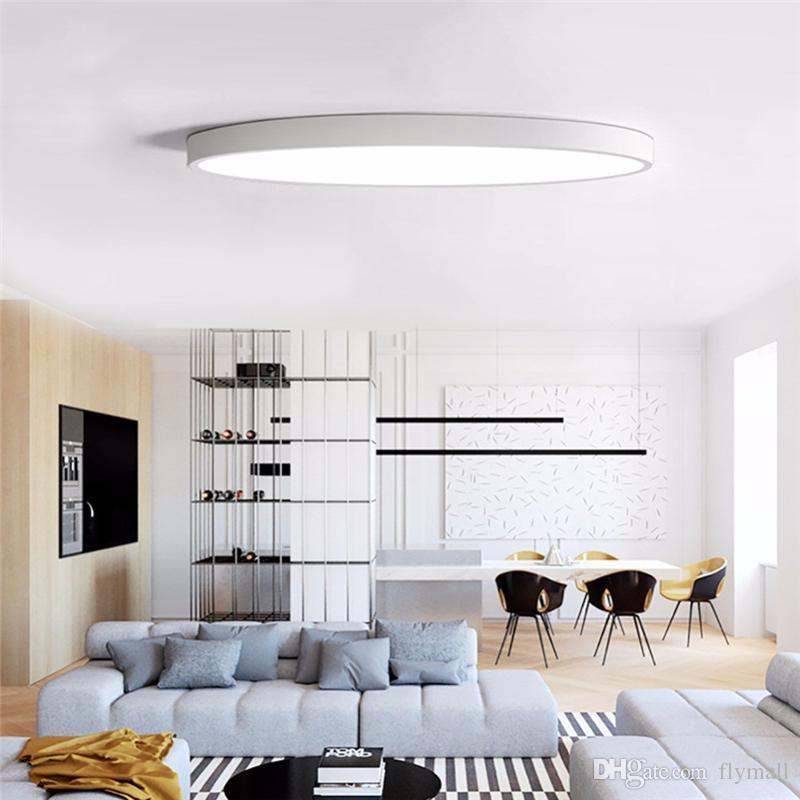 LED Ceiling Light Modern Lamp Living Room Lighting Fixture Bedroom Kitchen Surface Mount Flush Ultra-thin LED Panel Light Black/White