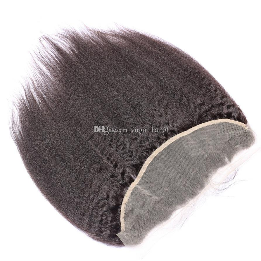 Kinky Straight Human Hair Weaves With Lace Frontal Big Yaki Hair Extension 3 Bundles With Lace Frontal