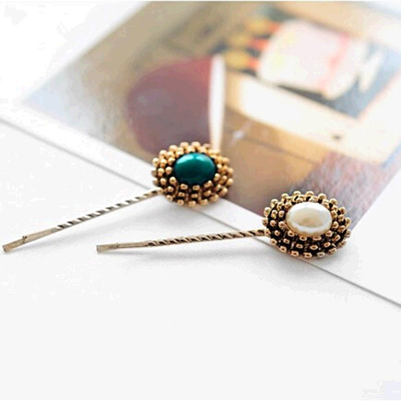 Bohemia Style Vintage Colorful Ellipse Triangular Cone Boho Stone Hair Pins and Clips Accessories Women Hair Jewelry