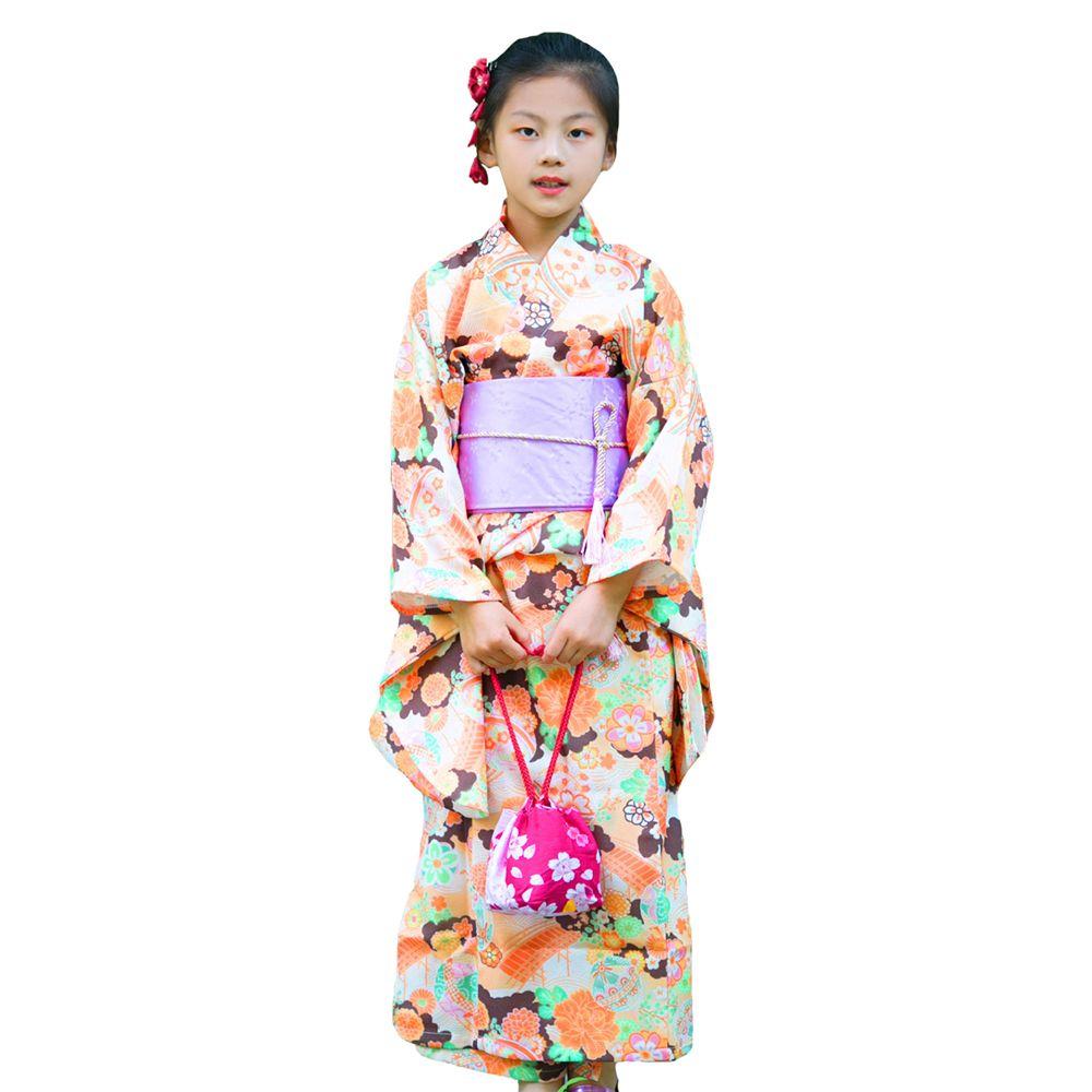 66bae2cf0d900 Japanese Traditional Girls Elegant Kimono Vintage Print Flower Yukata With  Obi Child Festival Gown New Lovely Cosplay Costume