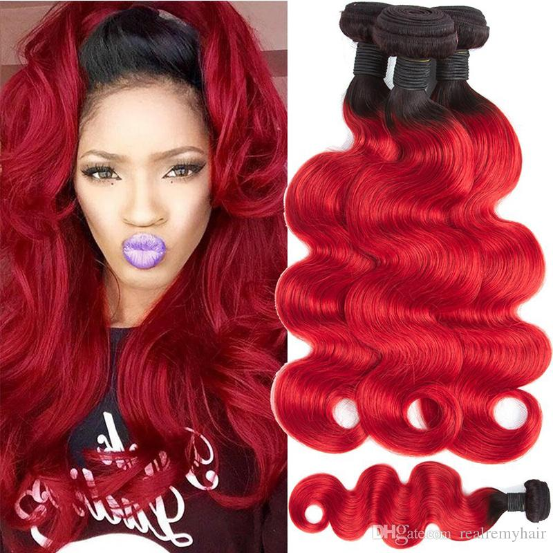 Colored 1B Red Brazilian Human Hair 4 Bundles Deals Cheap Brazilian Ombre  Virgin Hair Weave Two Tone Body Wave Human Hair Extensions Best Human Hair  Weave ... 8e2a6c950142
