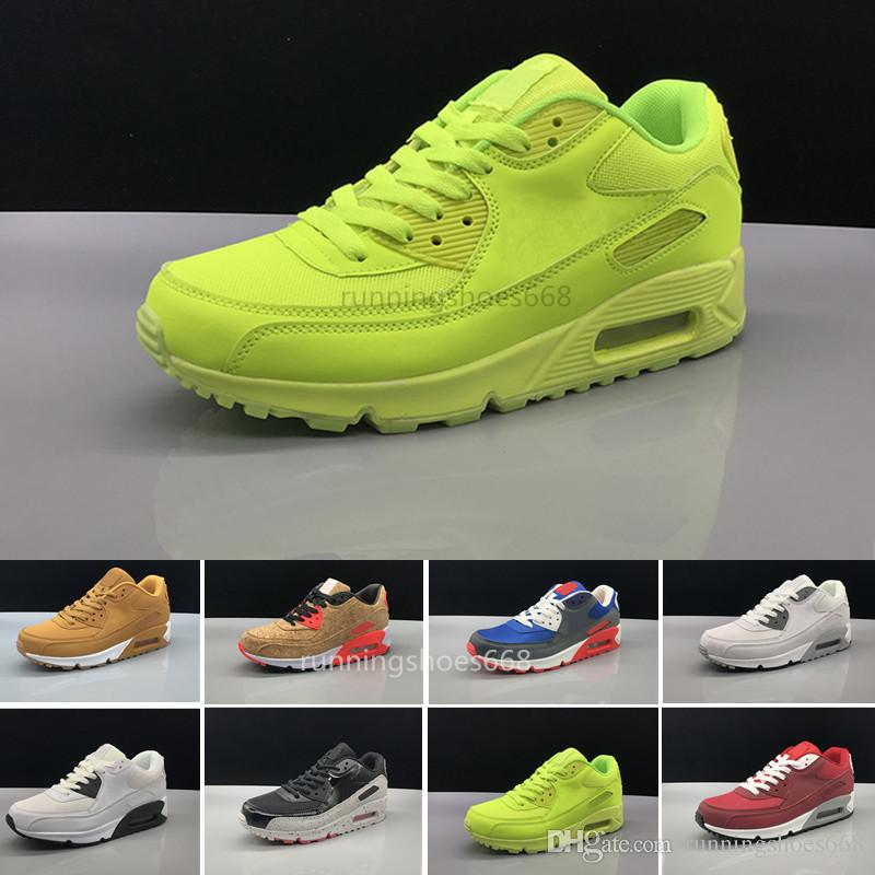 buy popular 72f7a 2dff6 Acheter Nike Air Max 90 Airmax 2018 Pas Cher Hommes Femmes Sneakers  Chaussures Classique 90 Hommes Chaussures Casual En Gros Drop Shipping  Sports Entraîneur ...