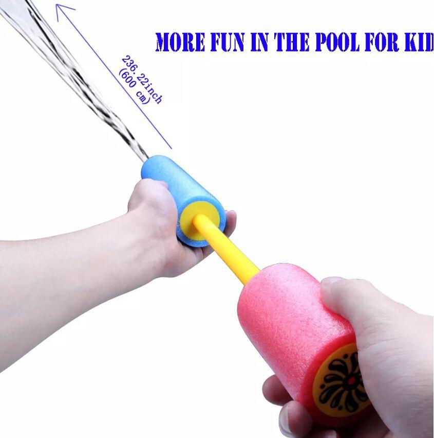 Série Pistola de Água das Crianças coloridas Smoked Puxar Tipo EVA Espuma Desenhada Bomba de Água Pistola Brinquedo 3 tamanhos