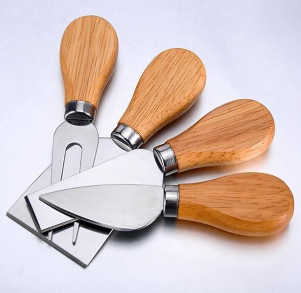 4 قطع سكين الجبن مع مقبض خشب البلوط الفولاذ المقاوم للصدأ الجبن القطاعة الجبن القاطع السكاكين أدوات المطبخ الطبخ مجموعة