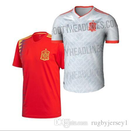 43fc2f3cd 2019 Spain Away Home Red RAMOS Soccer Jersey 2018 World Cup Spain Home  Soccer Shirt 2018  7 MORATA  22 ISCO Jerseys From Rugbyjersey1