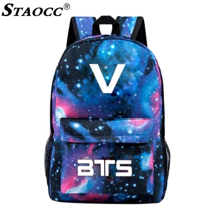 Luminous BTS Backpack Bookbag Space Printing School Bag For Teenage ... 478b66ecda77c