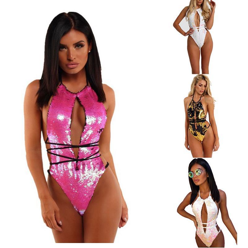 ba113c60a7 2019 One Piece Swimsuit 2019 Women Backless Swimwear Sequin Bandage  Bodysuit New Bathing Suit Beach Wear From Bikinicollection