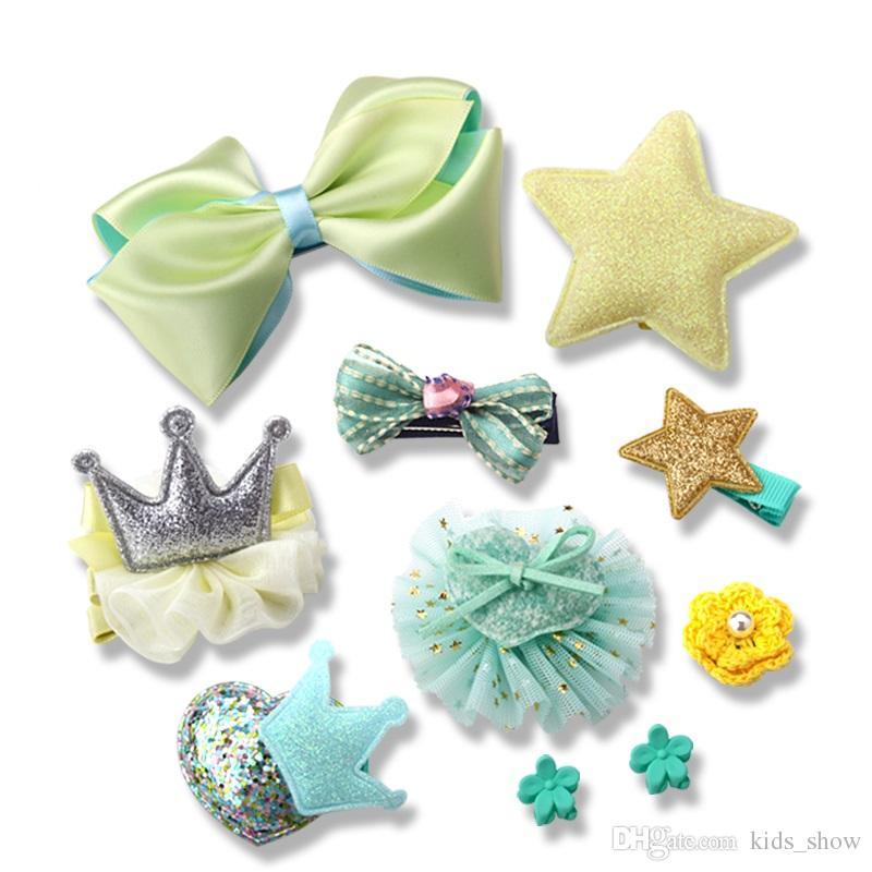 1 takım = 10 adet Tatlı Tokalar Kızlar Saç Aksesuarları Renkli Tokalarım Çocuk Bebekler Şapkalar Set Yay Saç klip Headdress