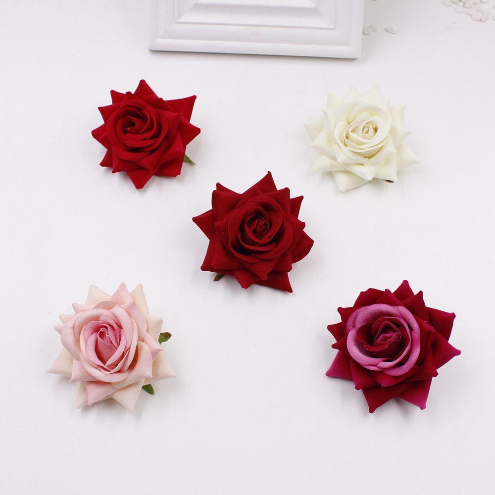 2018 Wholesale Cheap 6cm Flower Artificial Silk Velvet Rose Home