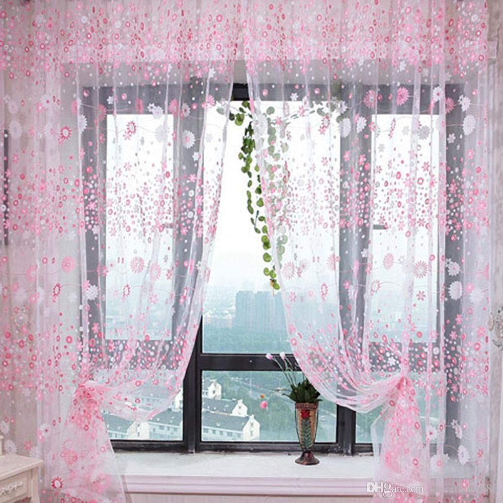 100 x 270cm Chiffon Gauze Voile Wall Living Room Divider Floral Printed Window Curtain Floral Printed Tulip Pattern Sun-shading Bedroom NB