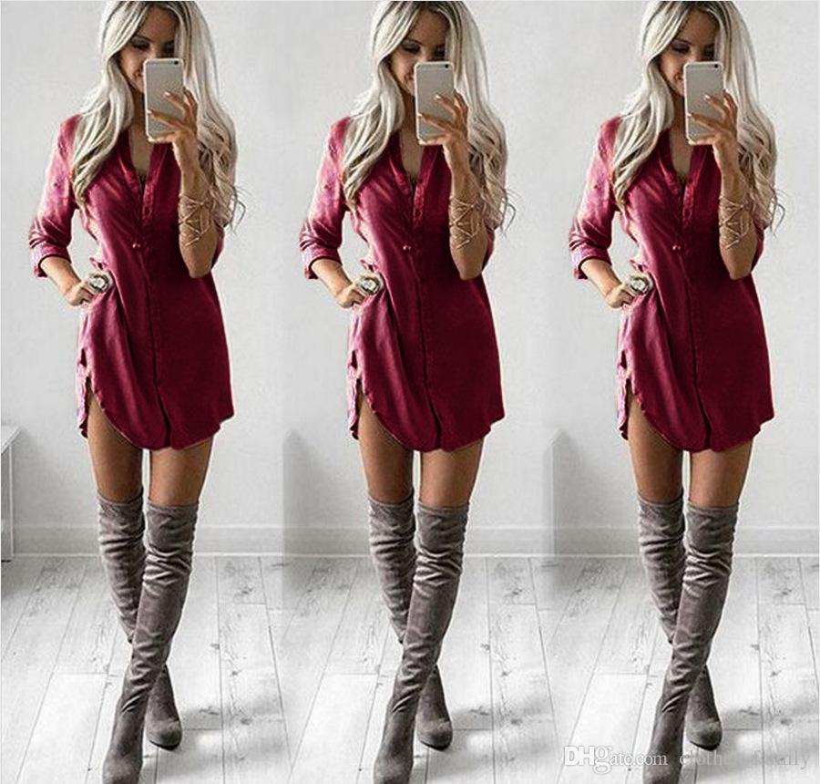 Top 2020 New High Quality Brand Women Fashion Slim Blouse Casual Sexy T-shirt Dresses Loose V Collar Plus Size Cotton Long Blouse