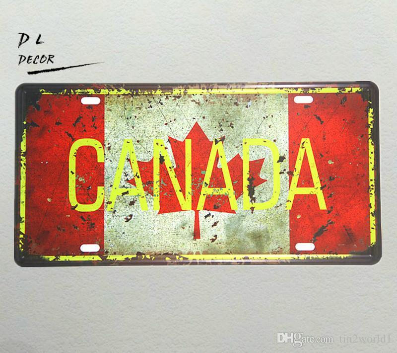 DL-KANADA KARTE Garage Shabby Chic Dekor Vintage Haus Cafe Restaurant Bier Poster Wandkunst Handwerk