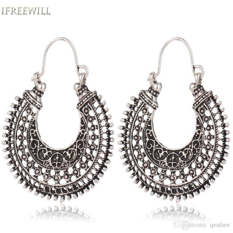 be9ba66b9 Wholesale- Flower Basket Hoop Earrings Vintahe Style Big Metal ...