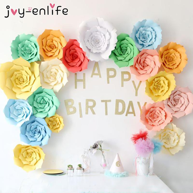 Joy Enlife 2pcs 20cm Diy Paper Flowers Backdrop Decor Hen Party Kids Birthday Party Wedding Home Room Decor Supplies