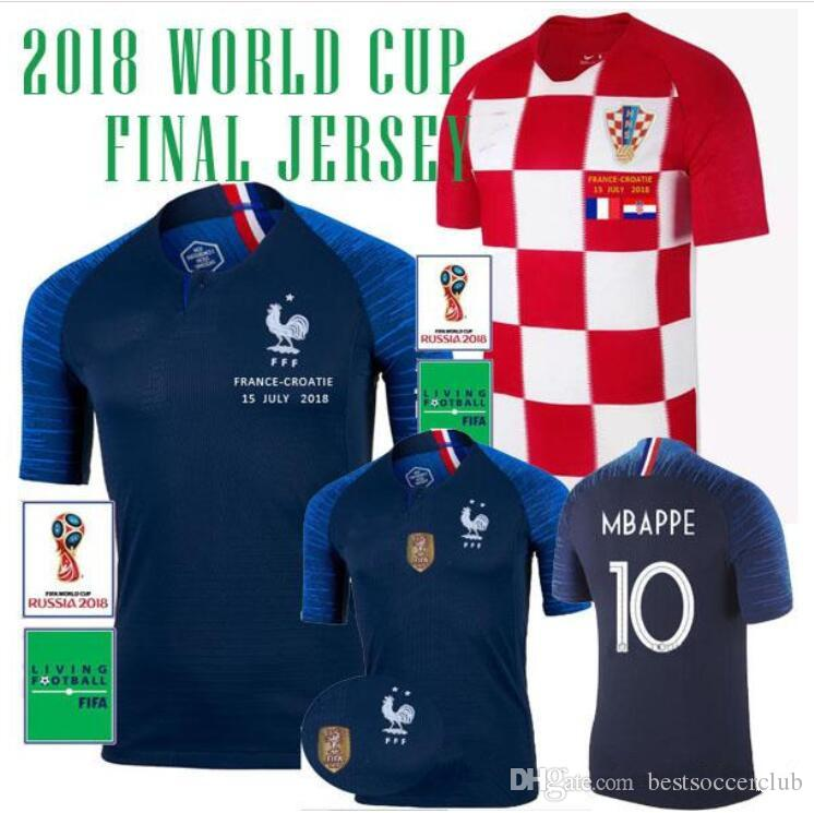 13b8c1512 2018 World Cup Champions Soccer Jerseys TWO 2 Stars MBAPPE GIROUD GRIEZMANN  POGBA DEMBELE FINAL MODRIC MATUIDI JERSEY Away Football Shirts Champions  World ...
