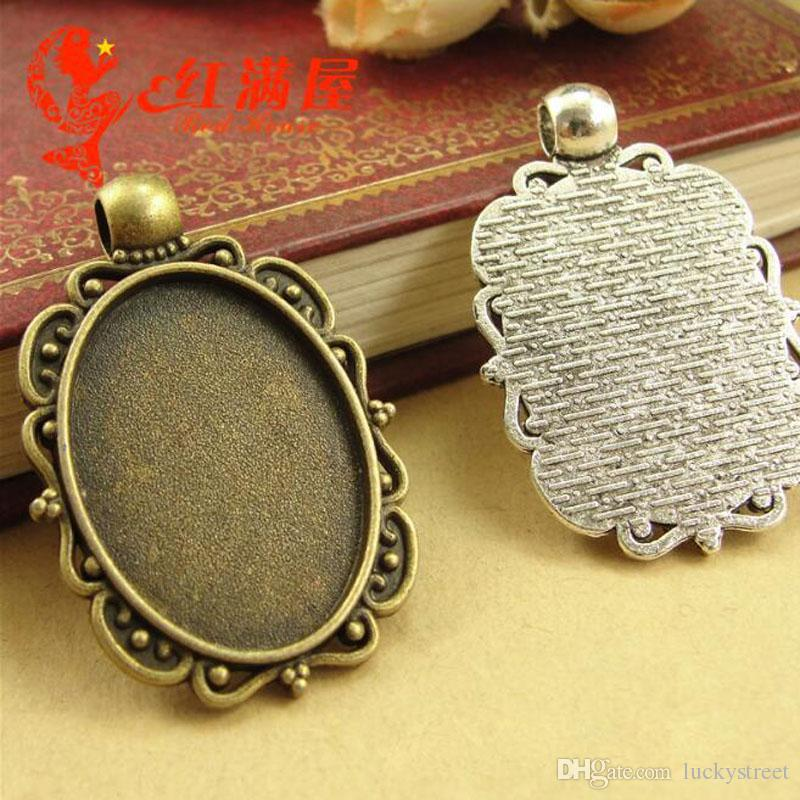 A3771 25*31MM Fit 25*18MM Antique Bronze tone vintage oval metal stamping blanks wholesale tibetan silver bezel pendant base tray