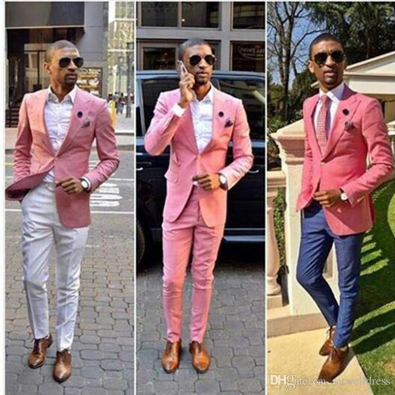 2018 New Fashion Pink Men Suit Cheap Custom Made Abiti da sposo Mens Groomsmen Slim Fit Best Man Prom Celebrità Dello Sposo Smoking (Jacket + Pant)