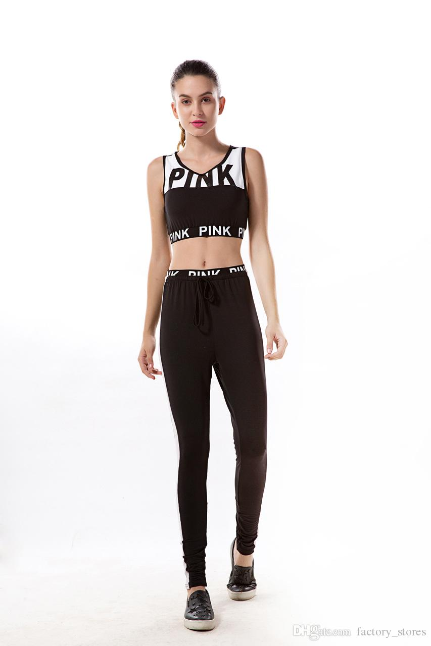 Women Pink Letter Print Tracksuit Causal Sportswear Vest Bra and Bodycon Pants Two Pieces Set Crop Tops and Trousers Sportsuit Clothing