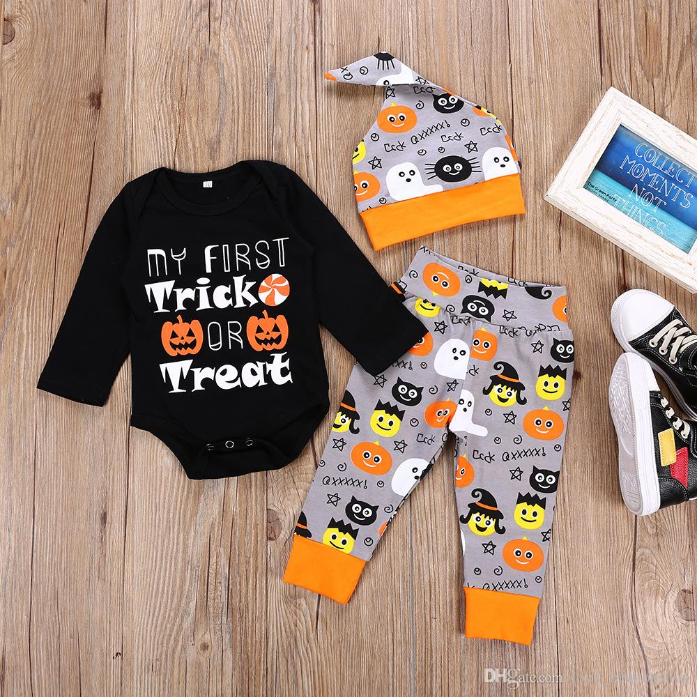 f322a2147568 2019 Halloween Baby Kids Cotton Cartoon Pumpkin Printed Three Pieces Outfits  Suits Romper+Pants+Hat Bodysuit Children Cosplay Clothing From  Love_fashionshop ...