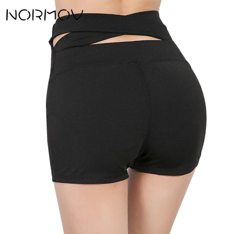12b2e01a48 2019 NORMOV Solid Black High Waist Yoga Shorts For Sports Women Fitness  Clothing Breathable Running Back Cross Denim Shorts Female From Simmer, ...