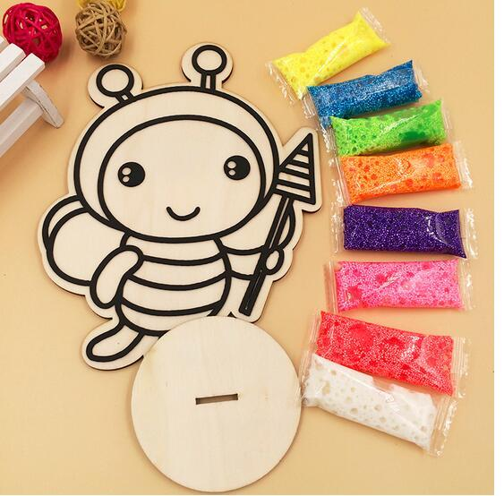 Creative Sand Painting Art Wooden Drawing Board for Children Snow Pearl Mud Drawing Toy Diy Color Hand Painting Kids Toys