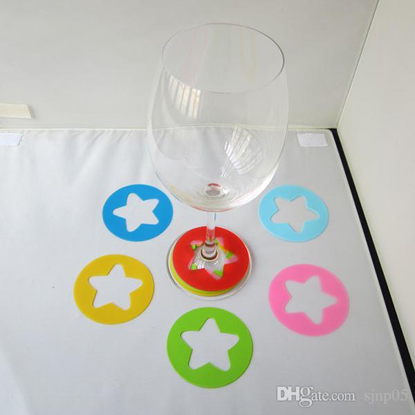 Set di 6 etichette di etichette in silicone bicchieri di vino stella rotonda tondo in vetro Etichette in silicone decorazioni feste da bar di casa