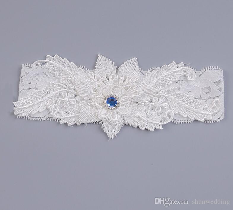 Wedding Garters Blue Rhinestone White Embroidery Floral Sexy Garters for Women/Female/Bride Thigh Ring Bridal Leg Garter