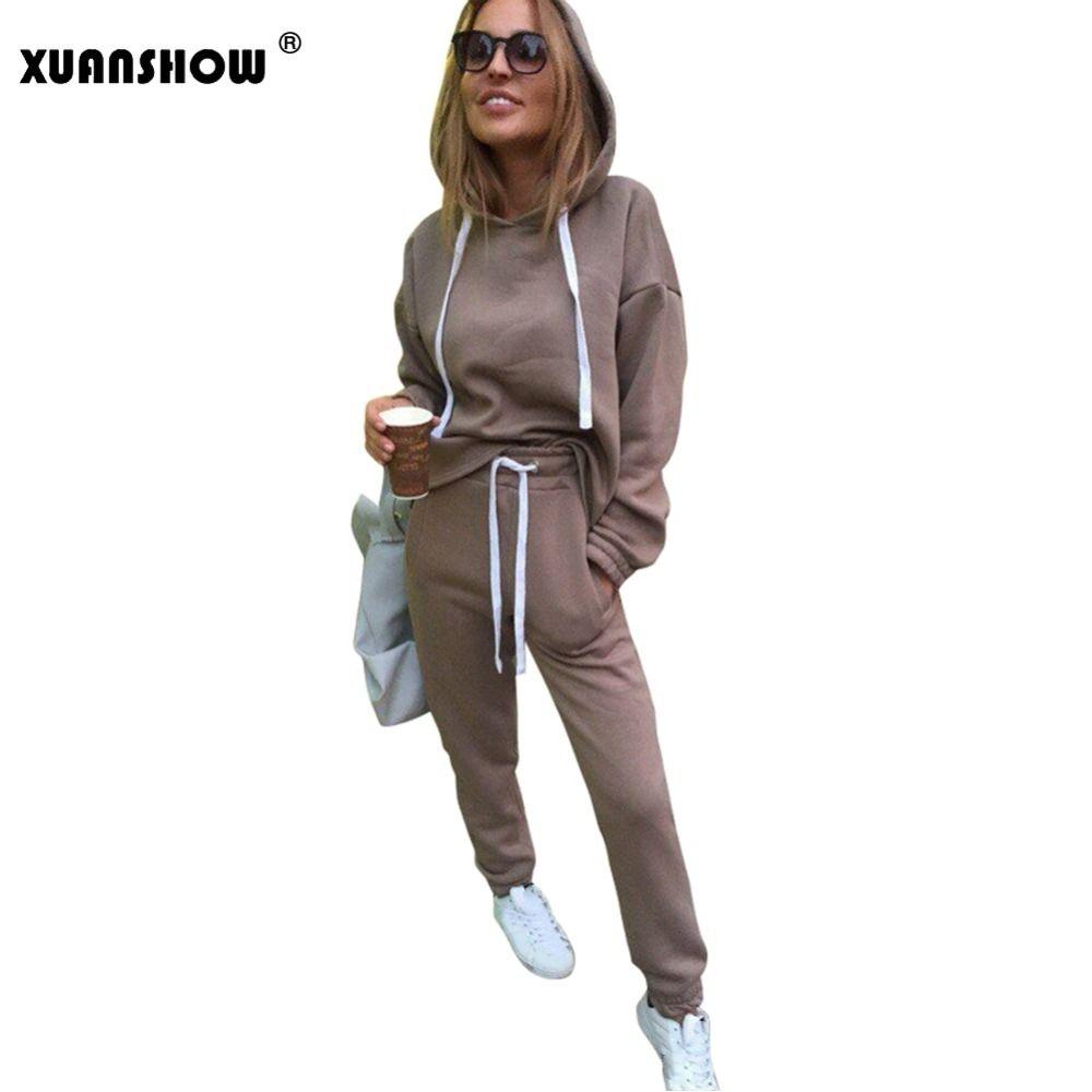 d4bc7439e8b Compre XUANSHOW 2018 Moda Mujer Chándal Otoño Invierno Irregular Hoodies +  Pantalones Largos 2 Unidades Conjunto Trajes Conjunto Moleton Feminino  C18110501 ...