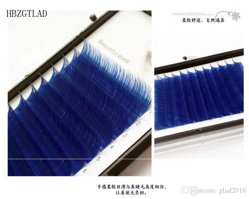 New C/D curl 0.07 0.1mm 8/13mm false lashes Royal blue eyelash individual colored lashes Faux volume eyelash extensions