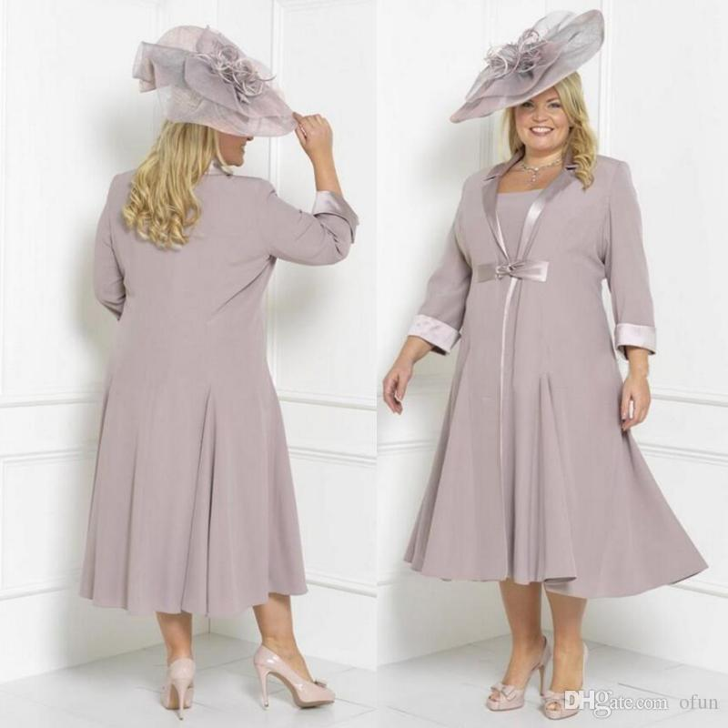 compre chiffon madre de la novia vestidos longitud escote redondo