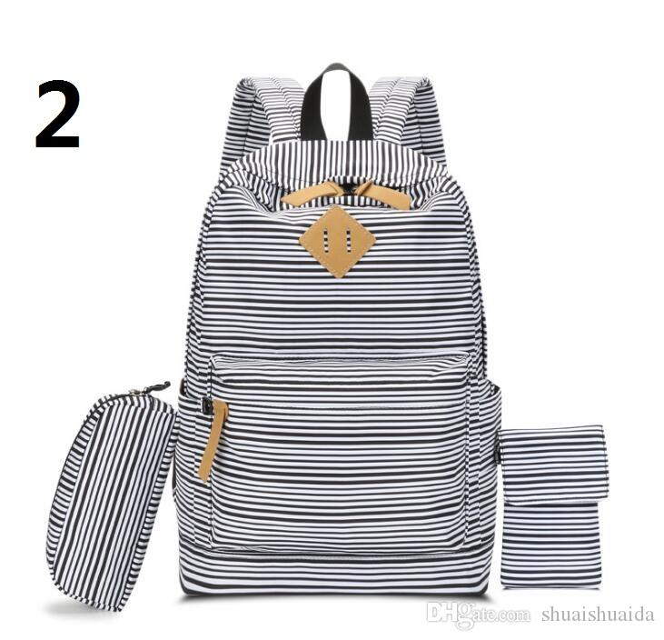 Schoolbag Canva+Oxford fabric fabric Backpack The leisure fashion Striped backpack Outdoor travel bags High-capacity Knapsack A34