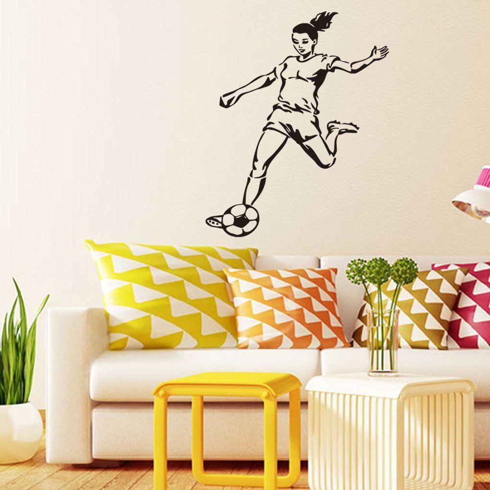 Playing Kicking Football Girl Wall Sticker Decal For Boy Girl ...