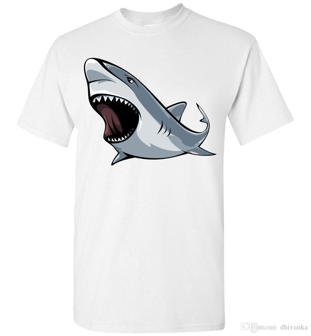 99c60826 Angry Shark T Shirt, Men Women Youth Kids Tank Long Personalized Tee Great  White Funny Print Shirts White T Shirt Designs From Dhivanka, $11.17|  DHgate.Com