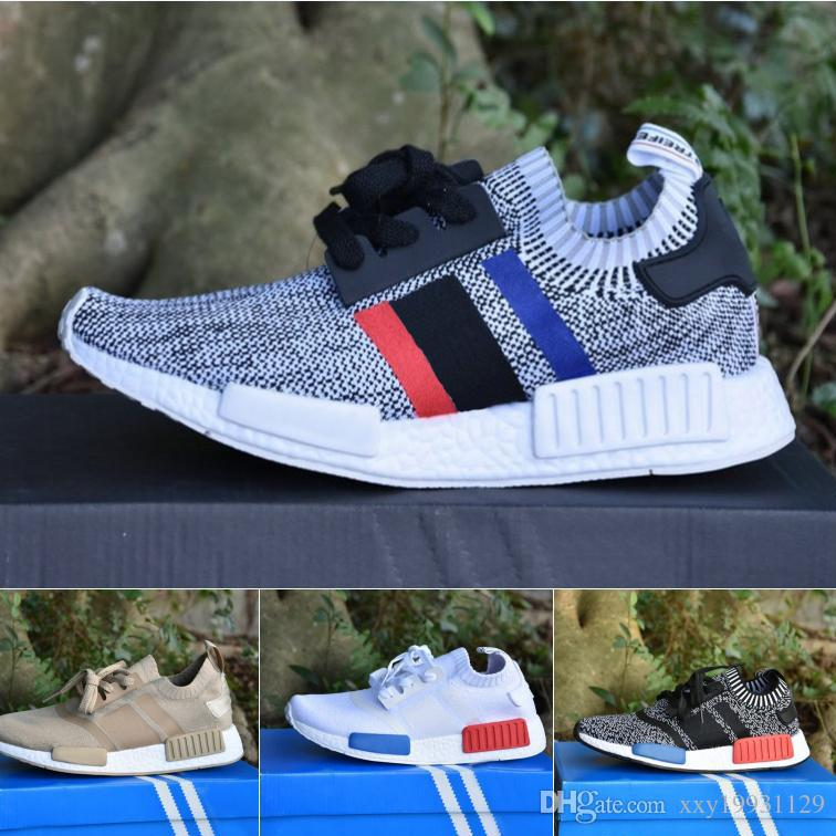 09bd5d2fe Cheap Wholesale NMD R1 Primeknit Top Quality Running Shoes Classic Color  Mesh Triple White Cream Salmon Athletics Sneakers US 5-11.5 With Box