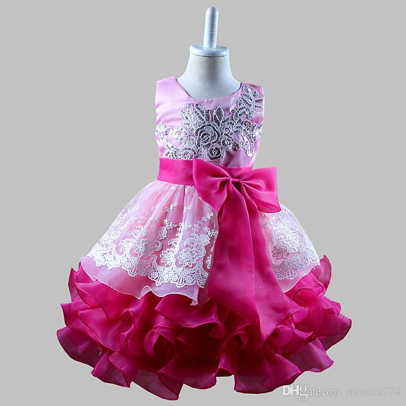 da3db5602 Best Gifts for Girls Embroidery Sequin Lace Flower Dresses Layers ...