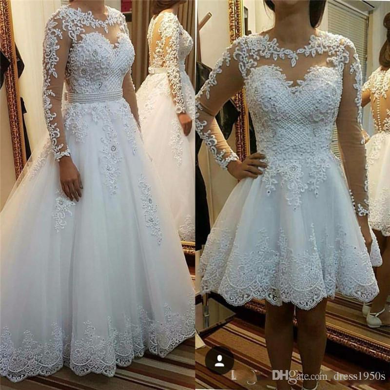 Falda desmontable Vestidos de novia Vestidos de novia Vestido de Noiva De Renda Ilusión Vestidos de novia de manga larga con apliques de encaje