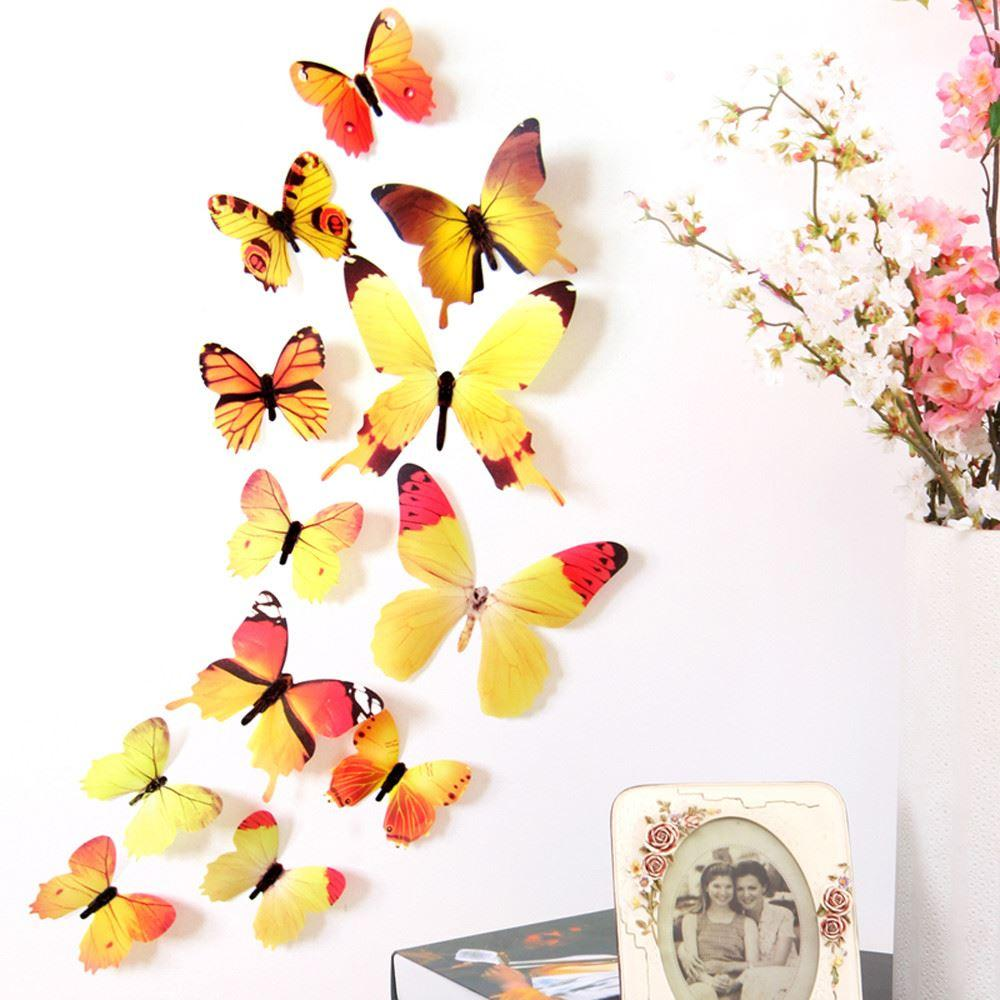 12 Pcs/set 3D PVC Butterfly Wall Sticker Butterfly on the wall Home Decor Fridge stickers Decoration For Kids Rooms Muursticker