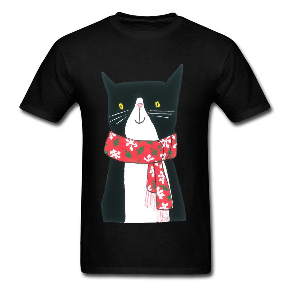 40ac4a9c Cat With A Scarf Clothes Men T Shirt Gift T Shirt Winter Black Tshirt Cute  Cartoon Design Male Tops Cotton Tees Thanksgiving Day Novelty Shirts  Original T ...
