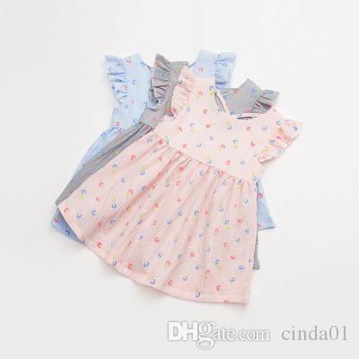 Vestidos para niños Vestido de niña Vestidos cortos de verano Mangas de pétalos Ropa de algodón Ropa para niños Vestido estampado floral